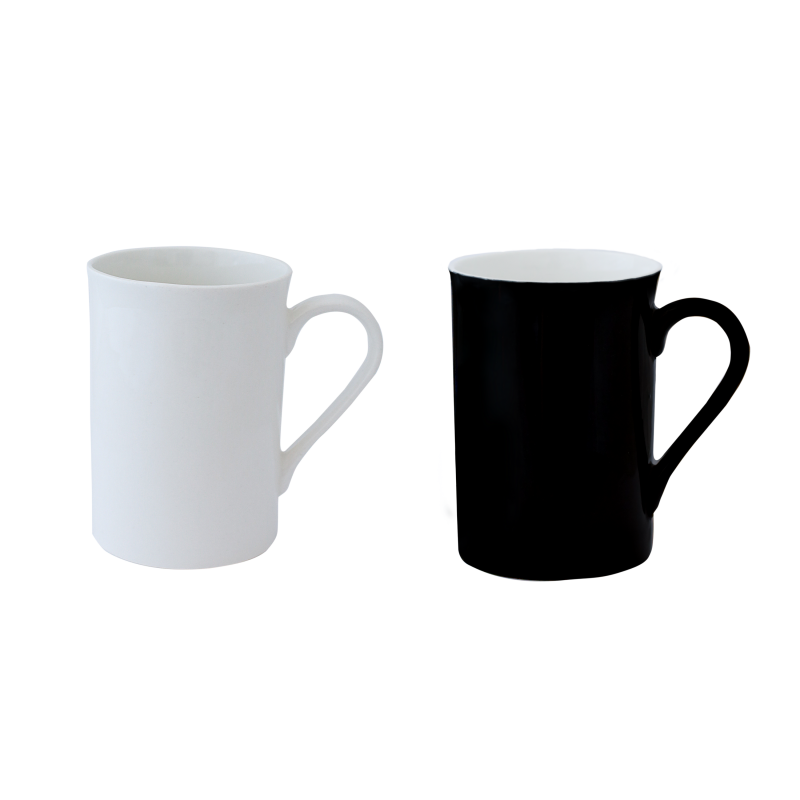 CANECA BONE CHINA ERANE-PRETO/BRANCO (2 MIX)320ML