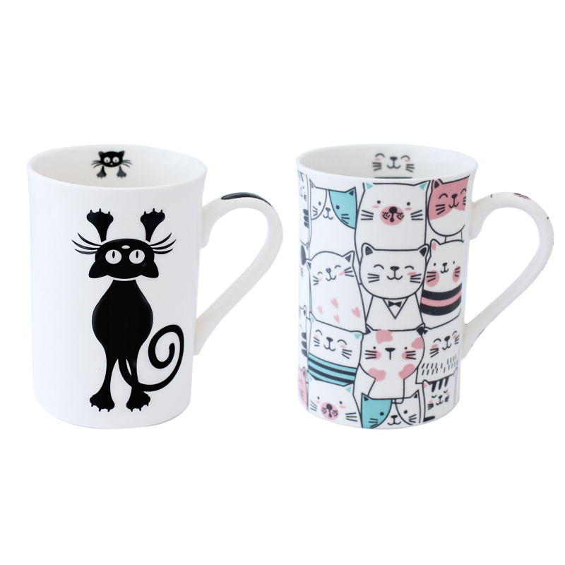 CANECA BONE CHINA ERANE - GATOS (2 MIX) 320 ML