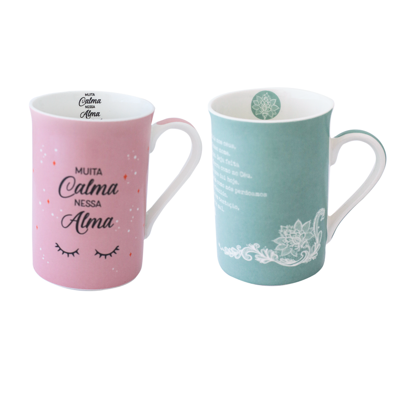 CANECA BONE CHINA ERANE - ORACAO (2 MIX) 320 ML