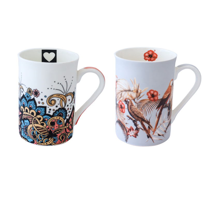 CANECA BONE CHINA ERANE - ABSTRATO (2 MIX) 320ML