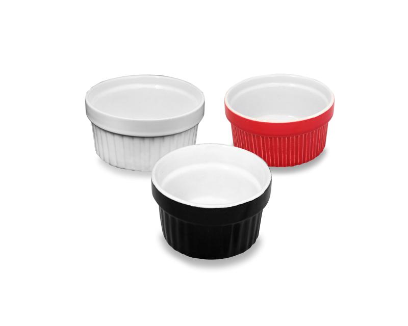 Ramequim de Ceramica 180 ML - 3 MIX Cores