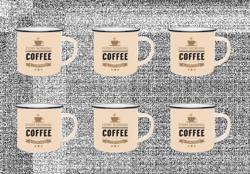 Jogo de Canecas de Ceramica 6 Pcs Para Cafe 60 ML