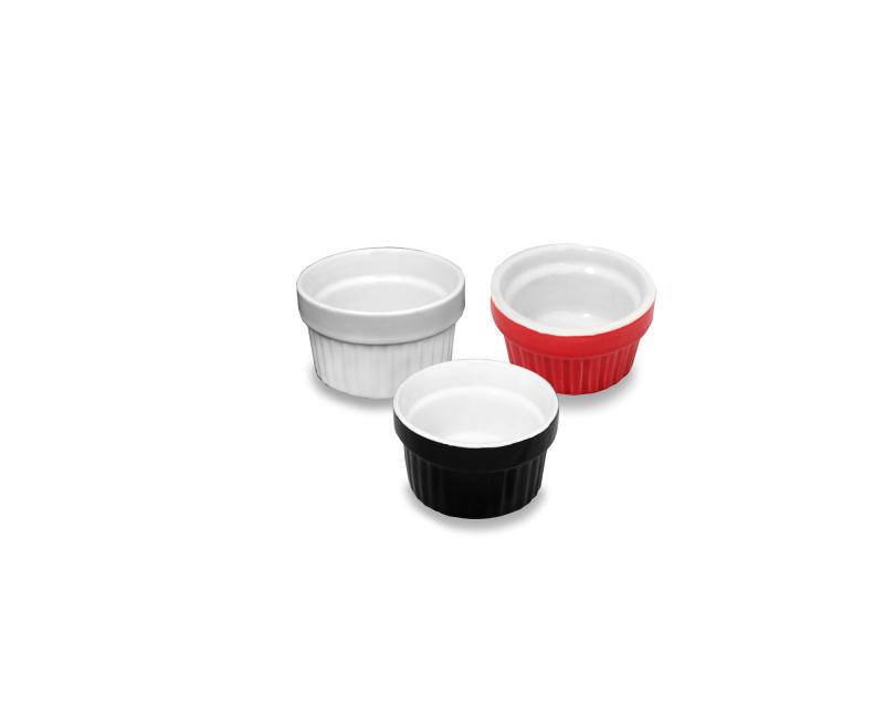 Ramequim de Ceramica 50 ML - 3 MIX Cores