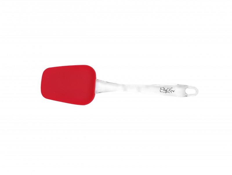 Colher de Silicone Vermelha 25,5 Cm-Cabo Acrilico